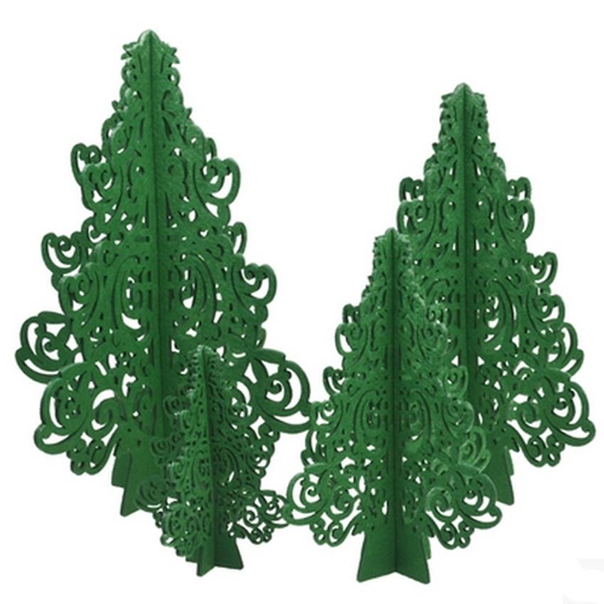 Outdoor Indoor Green Cartoon Mini Artificial Christmas Trees With Cristmas Tree Skirt Wool Hair Felt Xmas In From Home Garden On