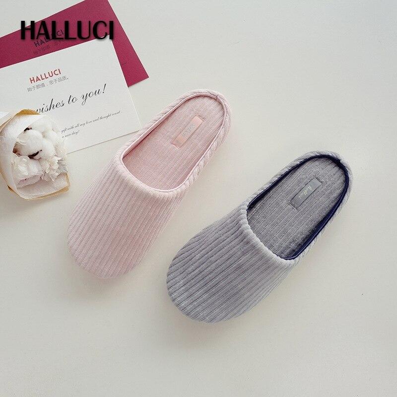 HALLUCI Pink sock home slippers women shoes pantufa simple slides vertical stripes terlik cotton soft female Slippers summer