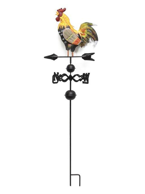 Retro Gardening Painted Cock Metal Rooster Wind Vane Vintage Country Style  Classic Outdoor Garden Decoration