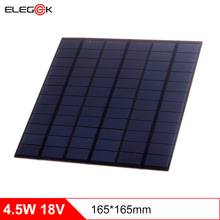 ELEGEEK 4.5W 18V Polycrystalline Solar Panel 250mAh Mini Solar Panel Cell Charger for 12V Battery 18V Solar Panel 165*165mm