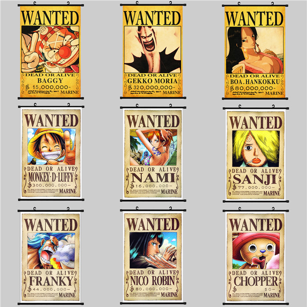 Nami Nico Robin Wanted Poster Modular Pictures Jinbei One Piece Scroll Painting Frank Ace Anime Paintings Canvas