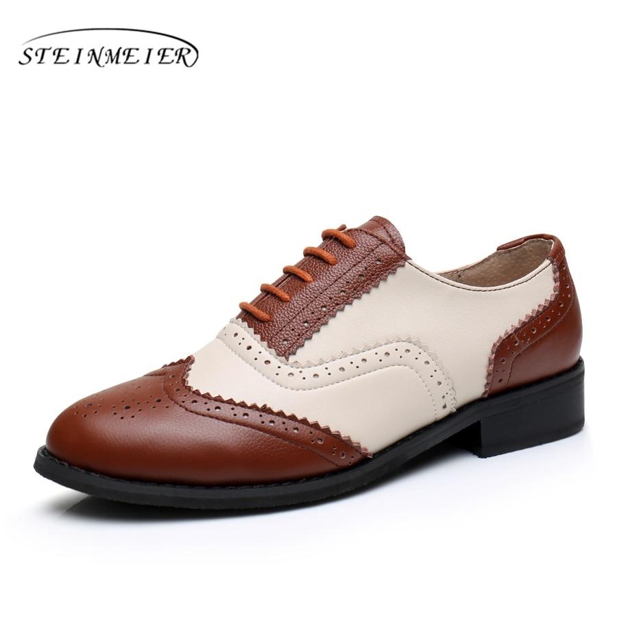 women genuine Cow leather big us 11 designer vintage flat shoes round toe handmade brown beige 2017 oxford shoes for women fur