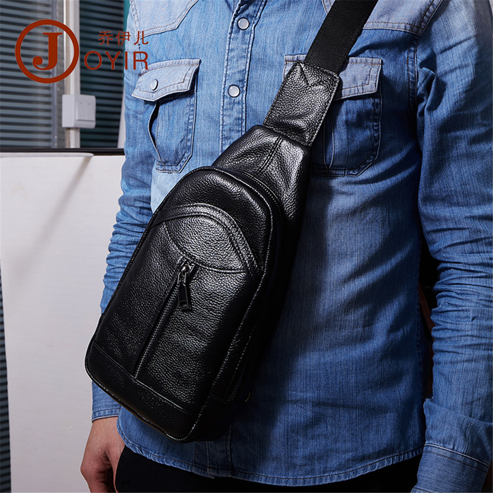 Joyir Men Genuine Leather Crossbody Bag fashion Shoulder Bag casual Male Travel Sling Chest Back Pack Day Pack Man Messenger Bag male casual messenger bag men shoulder bag man satchels handbags pu leather sling bag designer men crossbody travel bags li 1948