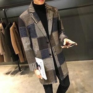 Мужское приталенное шерстяное пальто, ветровка в клетку, пальто средней длины с тяжелой подкладкой, Лидер продаж 2018