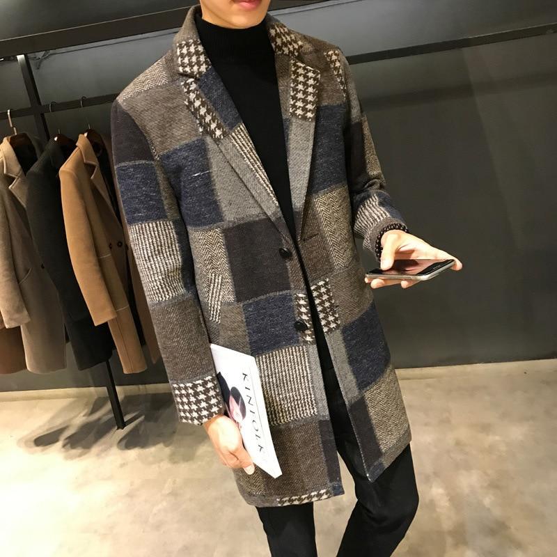 Slim men's large woolen coat plaid windbreaker coat Big Code new man's medium length coat with a heavy coat fashion hot 2018