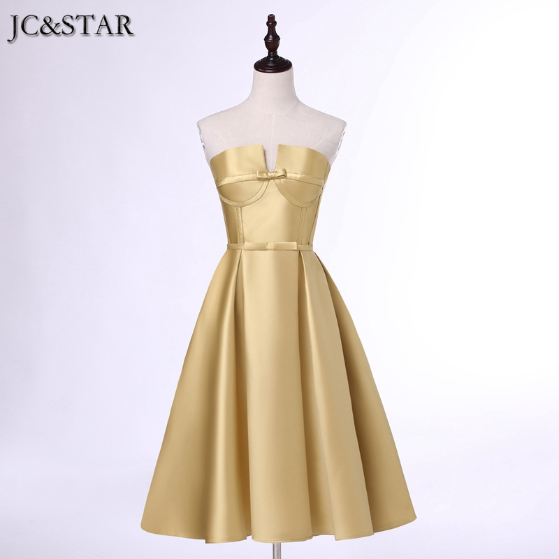Jc star colors wedding dress tea length gold silver for Silver tea length wedding dresses