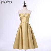 JC STAR Colors Wedding Dress Tea Length Gold Silver Bridesmaid Dresses Vestido De Festa Plus Size