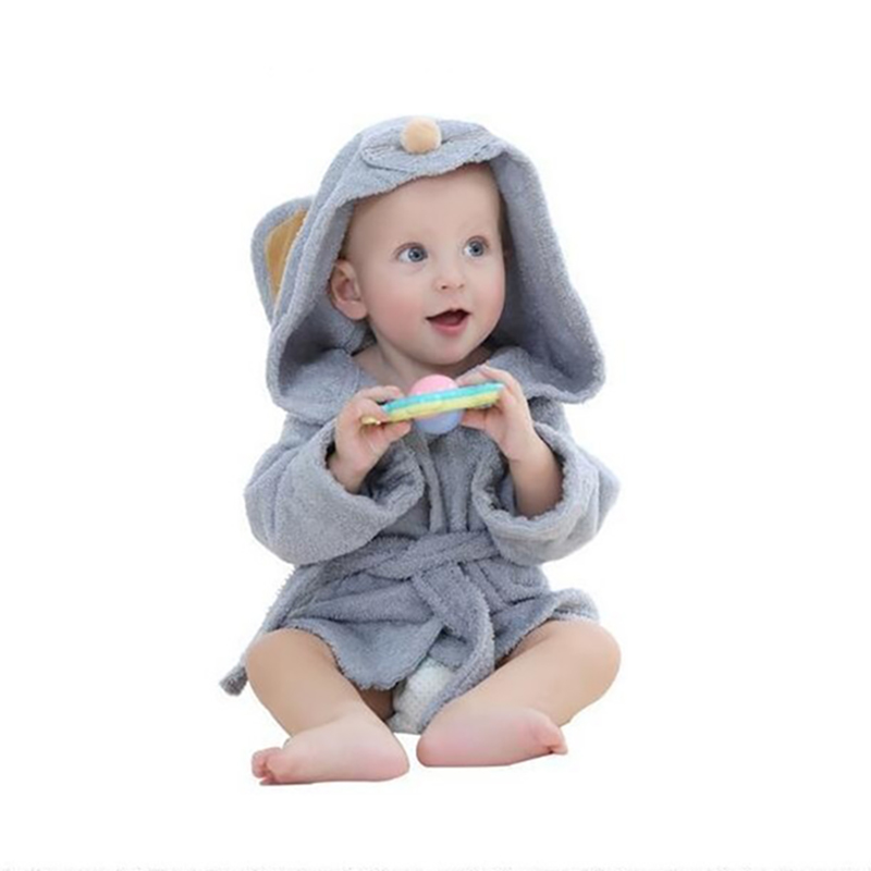 Mini Soft Cotton Clothing Children Cute Comfortable Animals Cartoon Hooded Bathrobe Pajamas Baby Nightwear