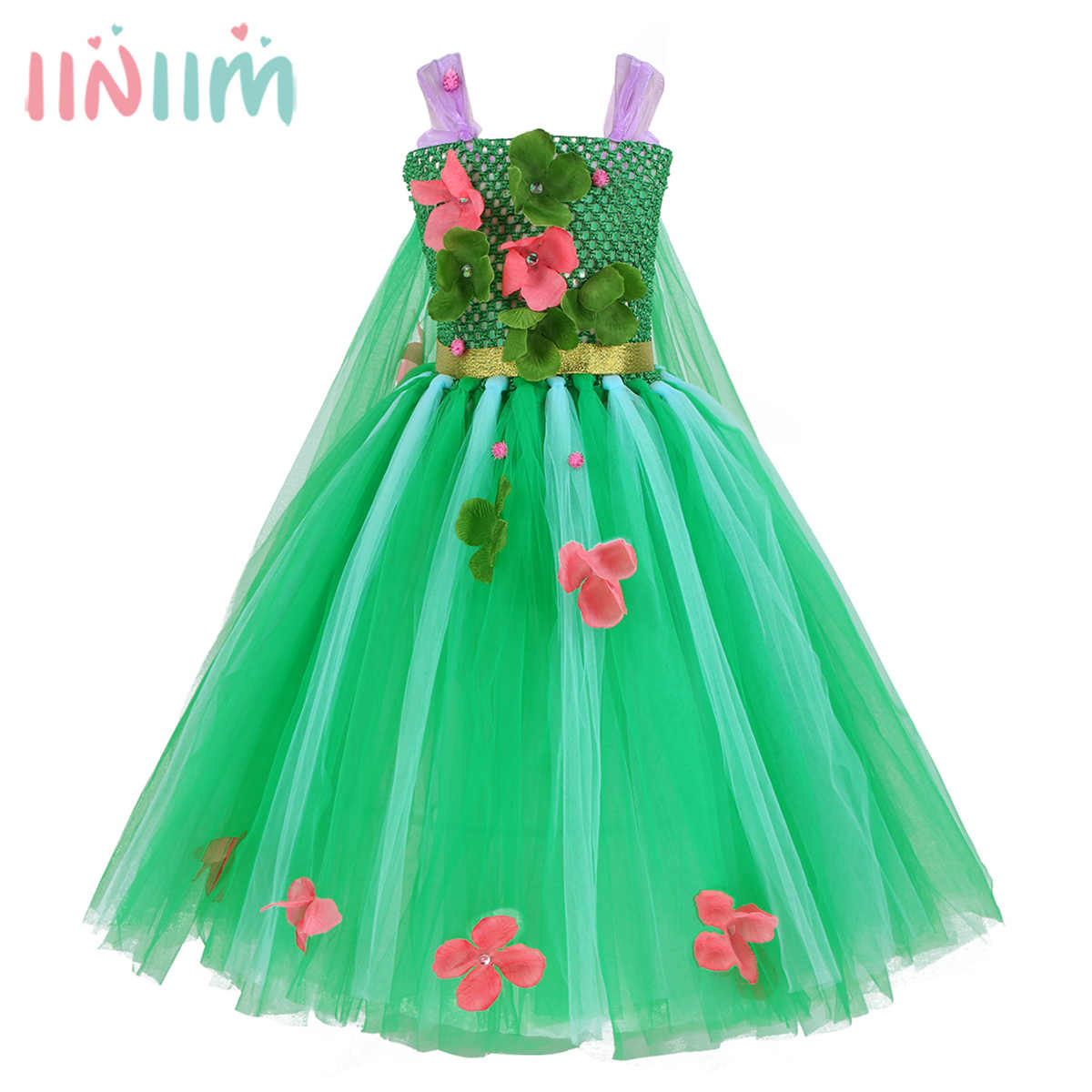 8cee9503a Green Baby Girls Summer Flowers Princess Dress Tulle Vestidos for Halloween  Costumes Cosplay Party Fancy Tutu
