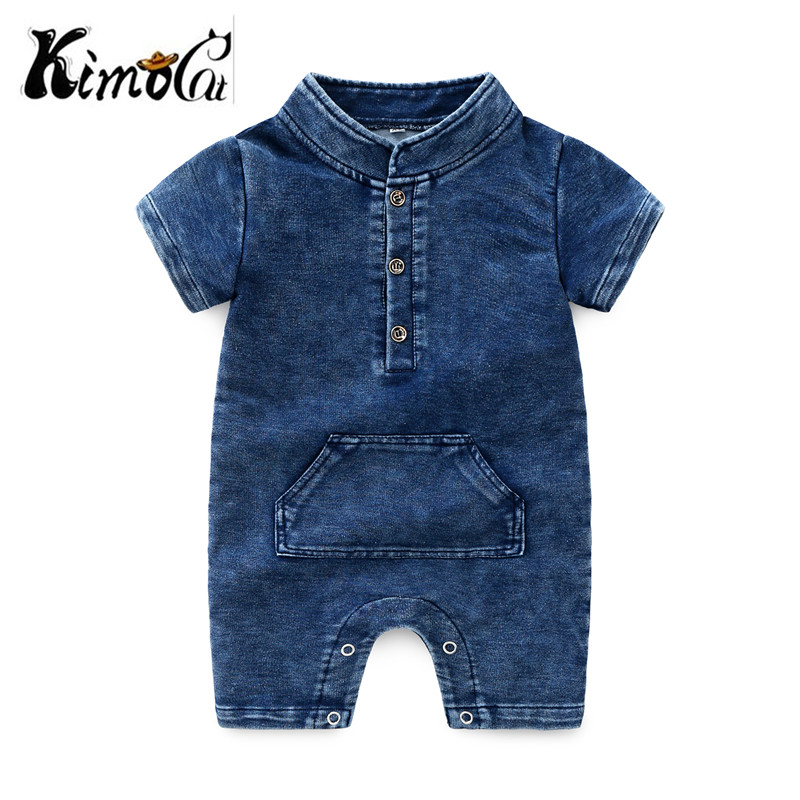 Kimocat Baby Boys   Romper   Newborn boys Clothes Solid Blue Black With short sleeves Denim baby boy   romper   clothes