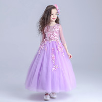 Latest European Purple Long Style Girls Dress Fancy Flowers Princess Costume 2019 Children Clothes For Girls 14 Years AKF164088