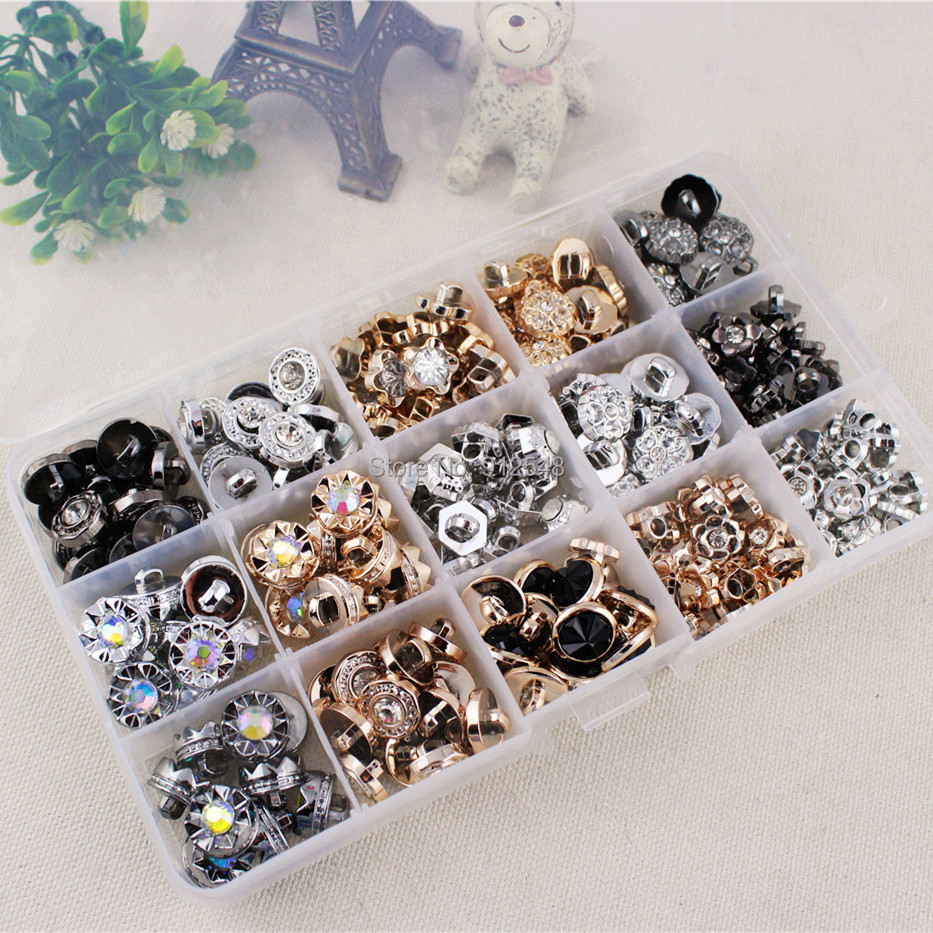 153261,free shipping 15 style mix 225 pcs Plastic flower Buttons, clothing accessories, DIY handmade materials