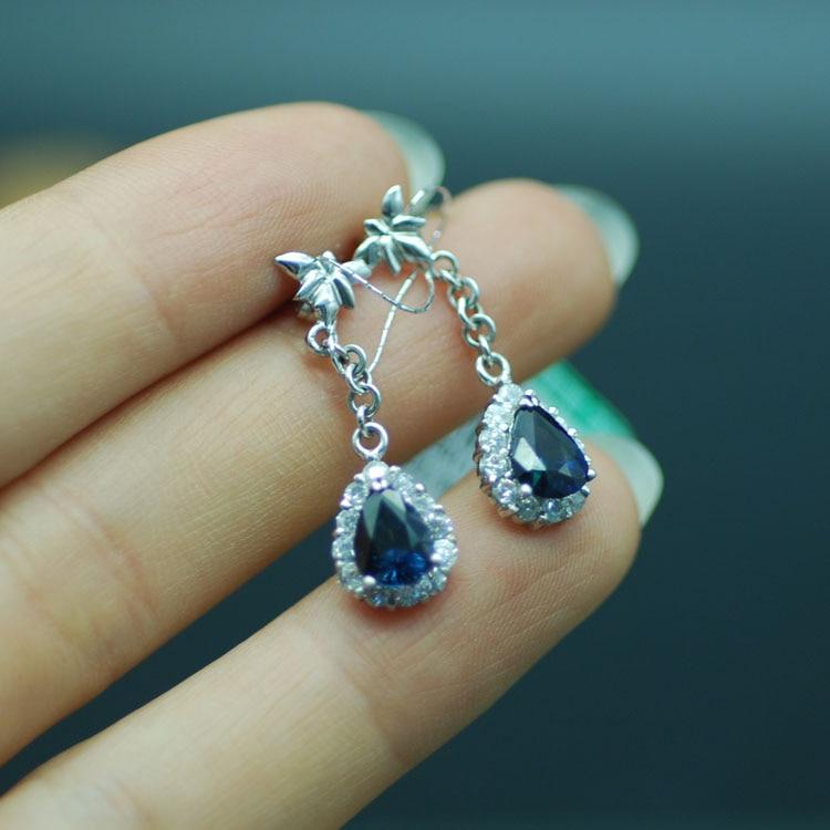 Boucles d'oreilles saphir or 18 K boucles d'oreilles saphir naturel cadeaux de mode pour femmes