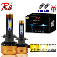R8 Car Tricolor 3Color LED Headlight Z5 H1 H4 H7 H11 HB3 HB4 50W 5800LM 3000K 4300K 6000K Yellow White Dual Two Color LED Bulbs(China)