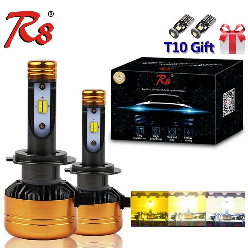 R8 Voiture Tricolore 3 Couleur phare LED Z5 H1 H4 H7 H11 HB3 HB4 50 W 5800LM 3000 K 4300 K 6000 K Jaune Blanc Double Deux Couleurs ampoule LED