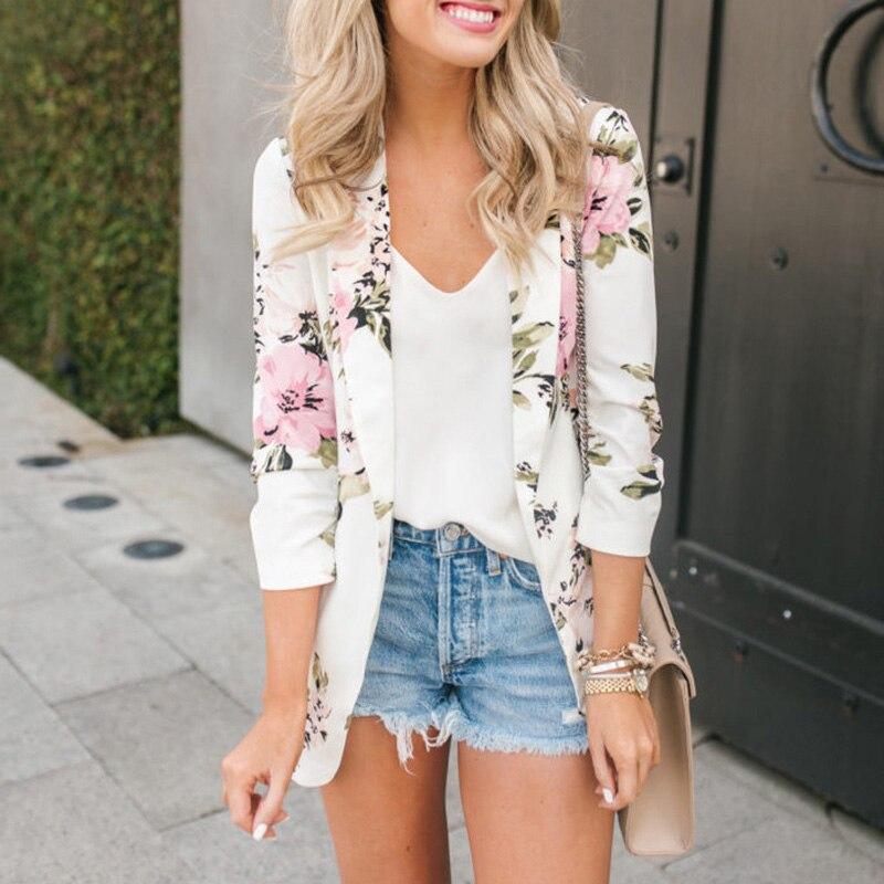 Ladies Blazer Woman 2019 Floral Print Work Wear Slim Suit Jacket Office Lady Women Blazers And Jackets Female Blazer Femme