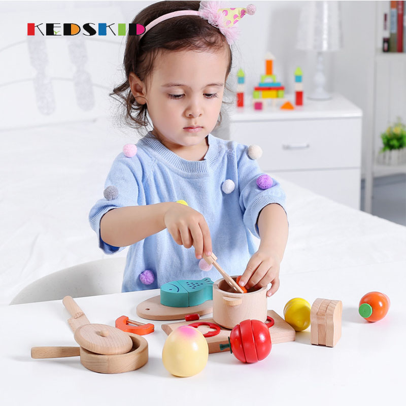 Wooden  Kids Pretend Play Cooker Toys Saucepan/Stewpot Play House Toys birtherday/Christmas gift Kitchen Toys