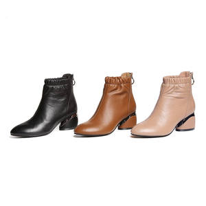 Image 2 - MORAZORA 2020 הגעה לניו מגפי עור עגול הבוהן קרסול מגפי נשים רוכסן אופנה סתיו עקבים גבוהים שמלת נעליים