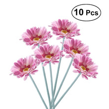 10pcs Artificial Sunflower Plastic Fake Gerbera Bunch for Home Garden Party Wedding Decorationm (Rose Red)(China)