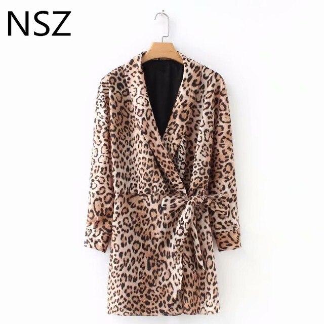 NSZ Women Animal print Leopard Sexy Deep V Neck Playsuits Style Dress Long  Sleeve Night Club 543c12f0d