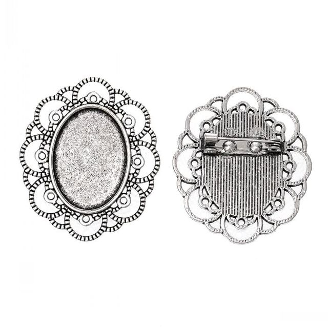 8SEASONS Cameo Frame Setting Brooches Findings Oval antique silver ...