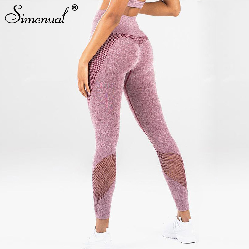 Simenual Bodybuilding push up   leggings   women hollow out mesh fitness heart   legging   high waist 2018 athleisure sportswear femme