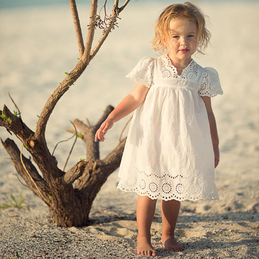 Kids Girls Dresses Lace White Lace Hollow Out Dress Embroidery Baby Girls Dress Summer 2018 Princess Korean Cute Girls Clothes