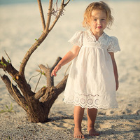 Kids Girls Dresses Lace White Lace Hollow Out Dress Embroidery Baby Girls Dress Summer 2017 Princess