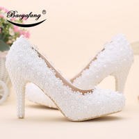 Baoyafang الأبيض زهرة المرأة أحذية الزفاف 10 سنتيمتر رقيقة كعب منصة أحذية امرأة مضخات السيدات حزب أحذية عالية اللمحة تو الرباط حذاء