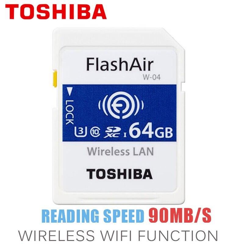 TOSHIBA Wifi Carte Mémoire 32 GB 64 GB 90 M/s SD Carte SDHC SDXC Classe 10 U3 FlashAir W-04 16 GB carte Mémoire Pour appareil photo numérique
