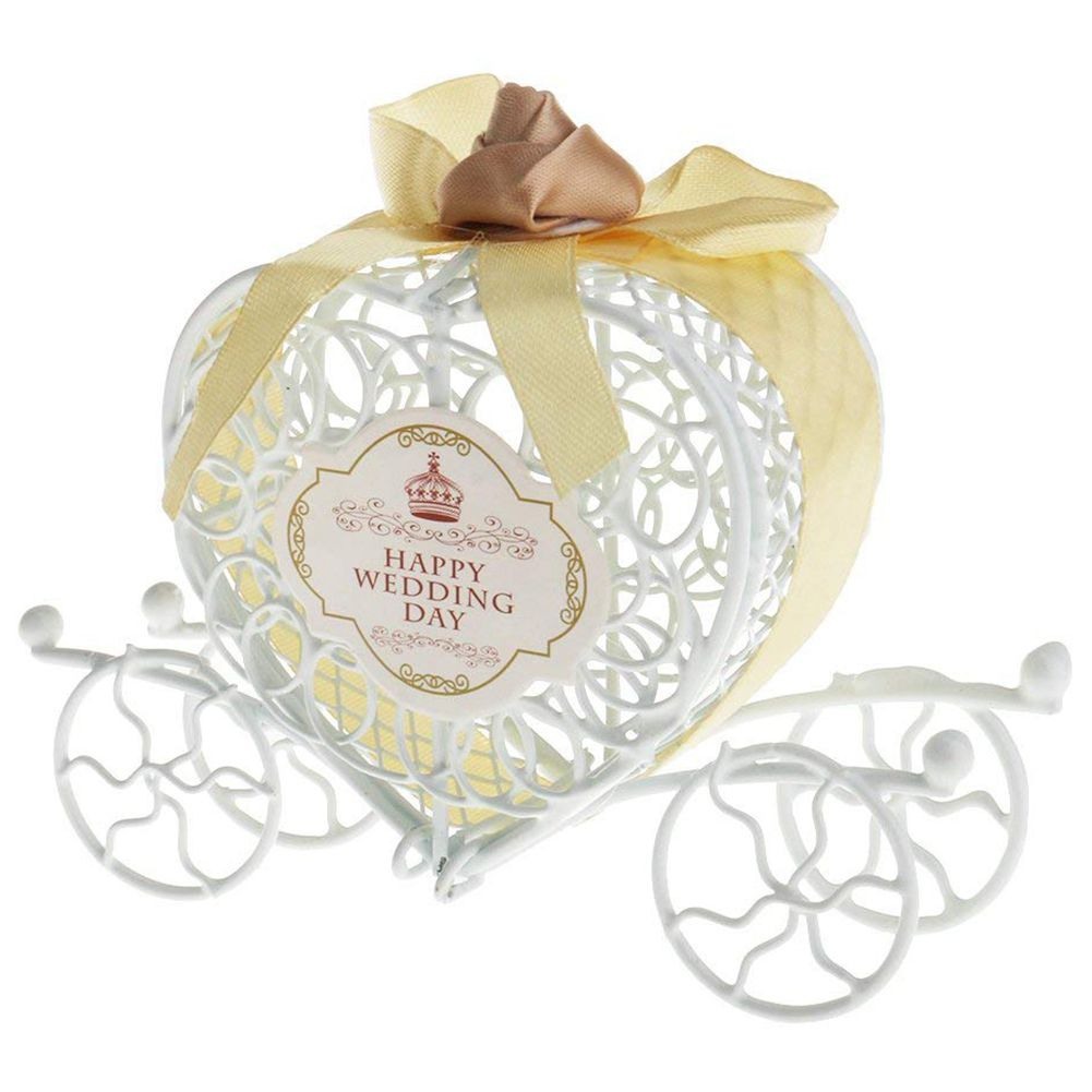 Metal Carriage Gift Box Gift Box Decoration Love Heart Party Wedding Hollow Carriage Baby Shower Favors Gifts Candy Boxes
