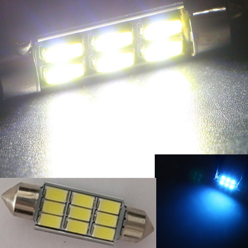 CYAN SOIL BAY Ice Blue 5630 5730 SMD CANBUS Festoon Dome C5W 6418 ERROR FREE Auto Car LED Light bulb Reading Lamp 31/36/39/42mm 2pcs lot 36mm 5630 smd 6 led canbus error free led dome light bulbs car dome light white warm white festoon light