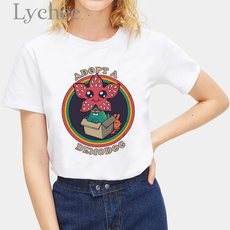 Lychee Harajuku Devil Print Female T Shirt Top Tees Short Sleeve Loose Spring Summmer Crew Neck Women T Shirts Top Tees