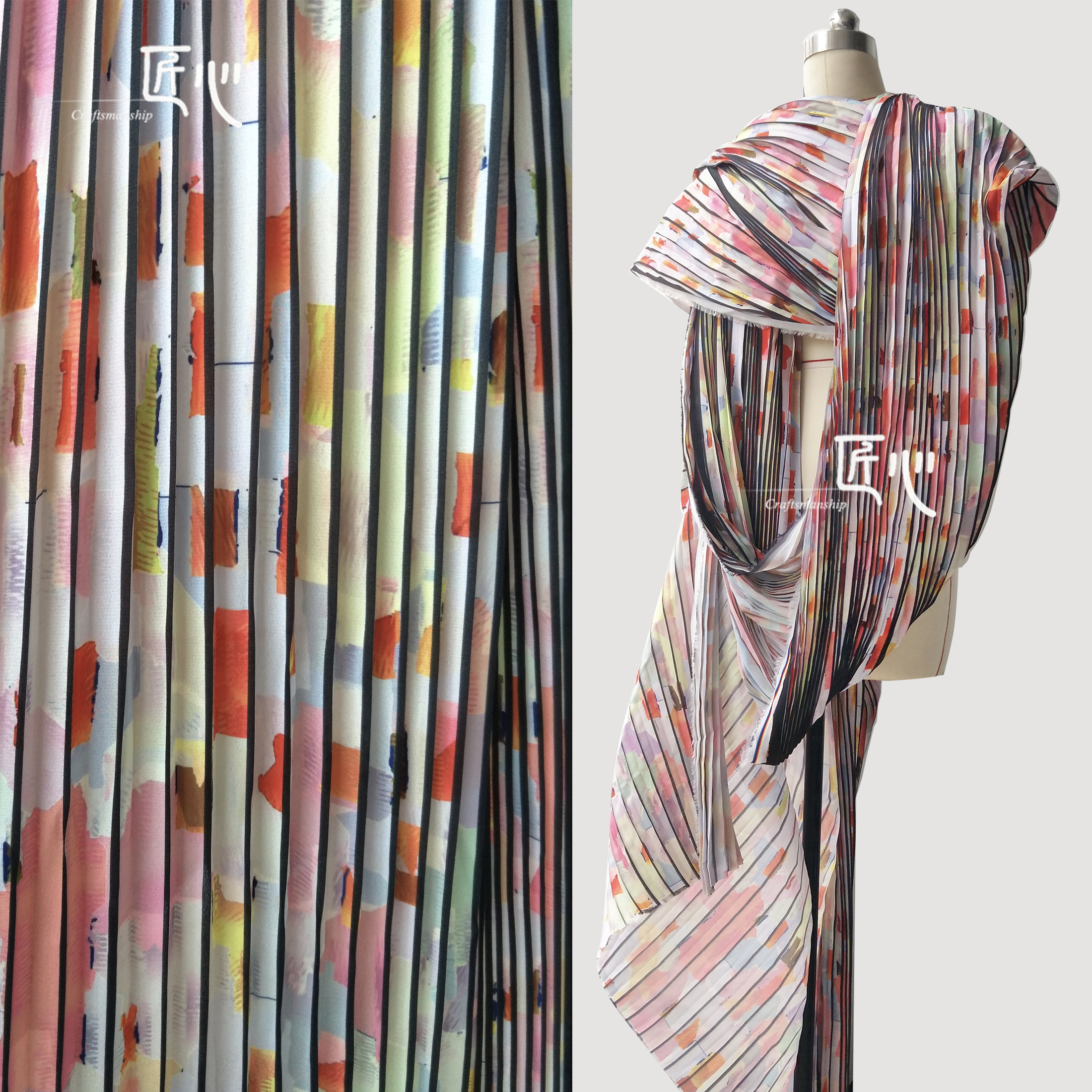 Pleated fabric SilkPrinting and Dyeing Pattern Fabrics Chiffon Pleated Wind Organ Cloth in Fabric from Home Garden