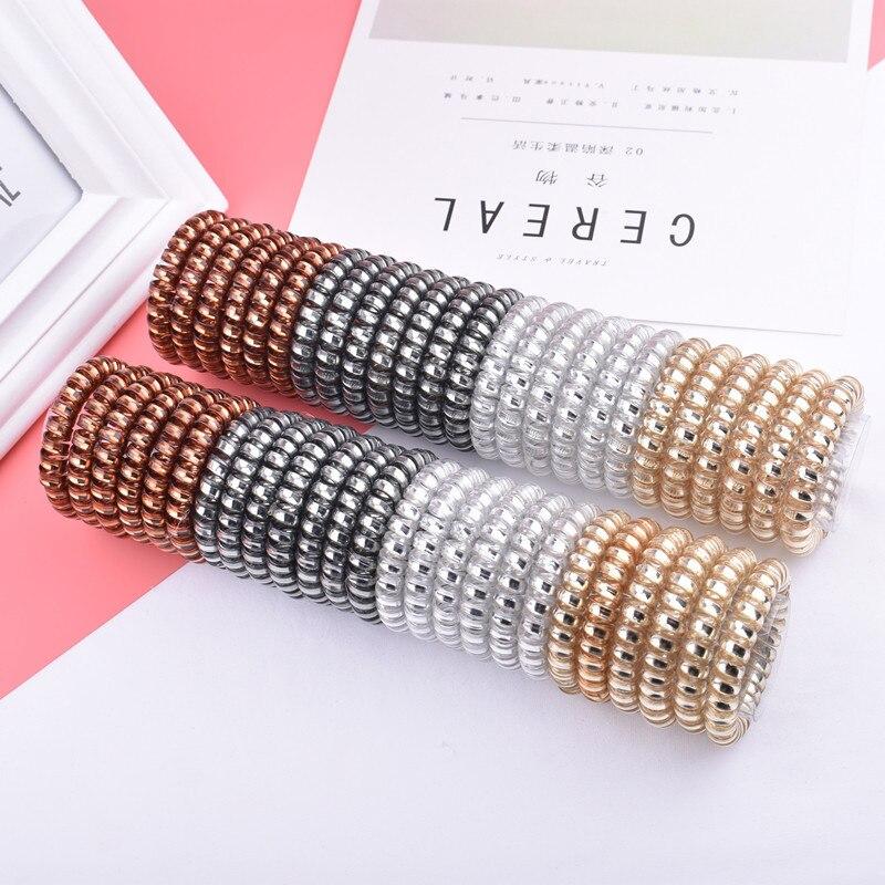 5pcs Telephone Wire Elastic Hair Bands Hair Accessories for Women Girl Rubber Band Headwear Hair Rope Spiral Shape Hair Ties Gum