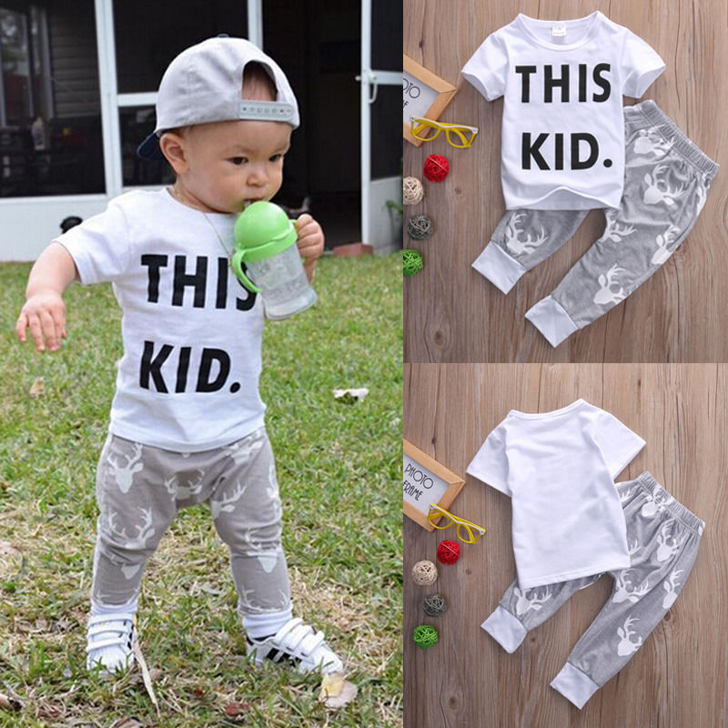 2pcs Infant Toddler Kids Baby Boy Girls Clothes Set T-shirt Tops Short Sleeve Pants Outfits Boys Clothing Set 0-5T infant baby boy girl 2pcs clothes set kids short sleeve you serious clark letters romper tops car print pants 2pcs outfit set