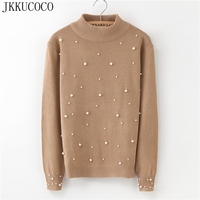 JKKUCOCO Newest Women Sweaters Beading Cotton Sweater Women Pullovers Half Turtleneck Winter sweaters Hot Sell 3 Colors