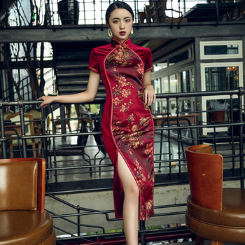 Print Flower Elegant Women Chinese Style Dress Sexy Split Stage Show Cheongsam Vestidos Vintage Mandarin Collar Long Qipao new red embroidery flower female modern cheongsam elegant mandarin collar chinese style dress cotton long sleeve qipao l xxl