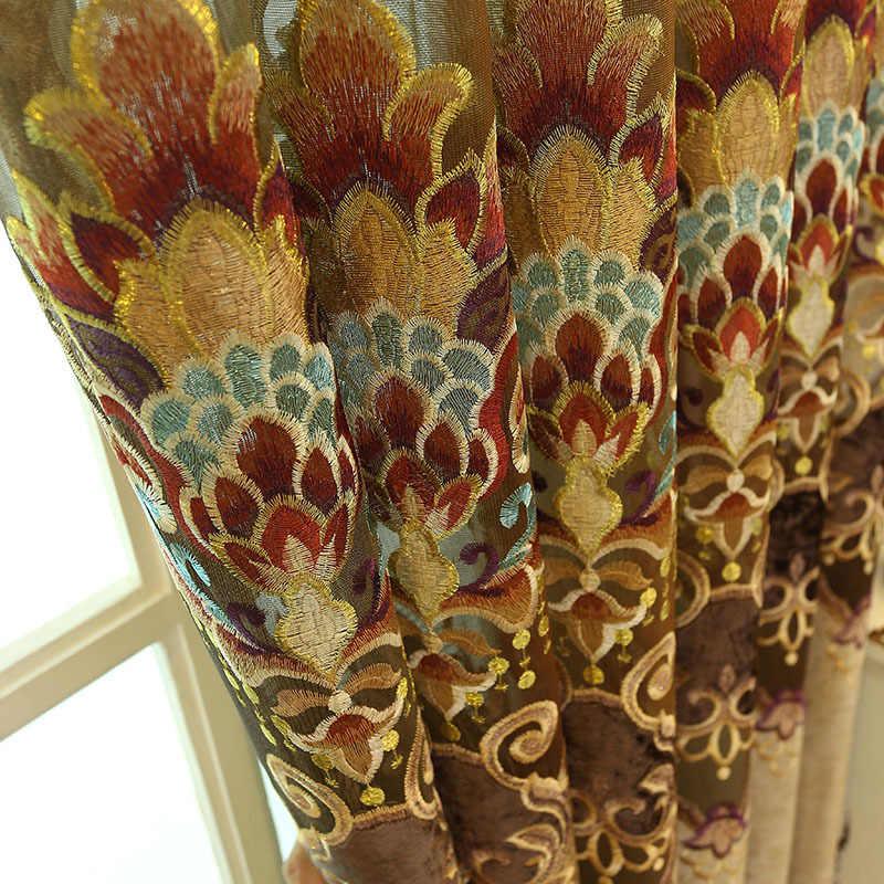 Синий коричневый Европа роскошная вилла подзор шторы для гостиной спальни окна тюлевые шторы с вышивкой драпировки украшения