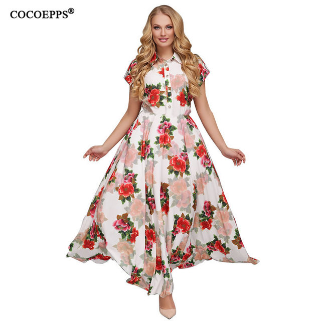 US $16.12 42% OFF|2019 6XL Plus Size Summer Lady Maxi Dress Floral print  Chiffon boho style vestido Elegant Beach Long Dress Big Size Dresses-in ...