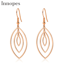 Innopes women earring plant leaf  dangle geometric circle symmetry hanging earrings long fashion jewelry