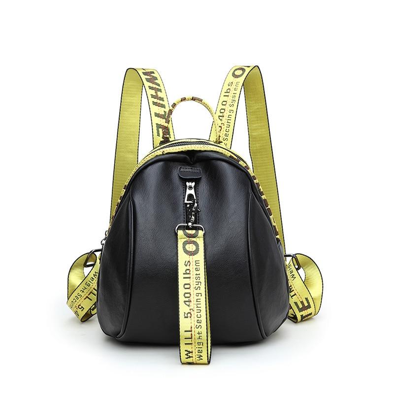 Trendy Cute Letter backpack women travel Pu Leather fashion school bags for Teenage Girls Shoulder Bags Female mochila feminina