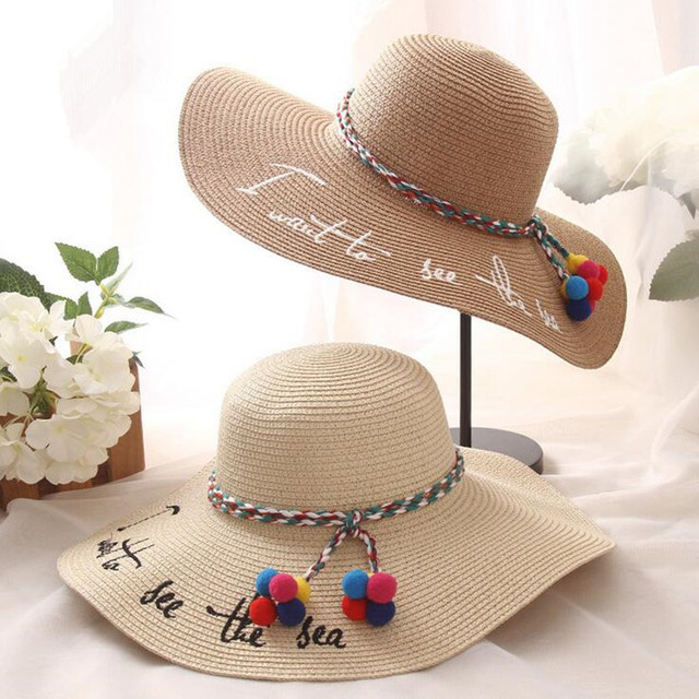 2016 New Foldable Las Wide Brim Straw Beach Hats With Embroidery Women S Y Large Floppy