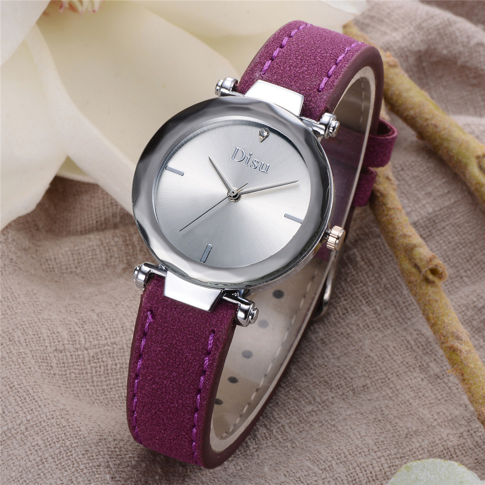 Disu brand Women Retro Design Leather Strap Quartz Watch minimalist lover 's watch genuine leather watch women relógios feminino