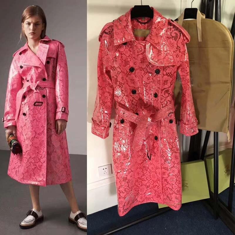 Autumn Coat 2018 Fashion Stunning Trench Raincoat Lace Women's Women nyvwO8mN0