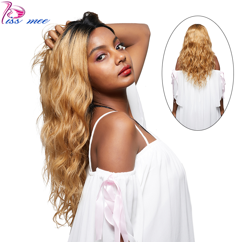 KISSMEE 1B 27 Body Wave Lace Front Wig For Black Women Brazilian Blonde Ombre Lace Wigs Remy 10-32Inches Bob Hair With Baby Hair