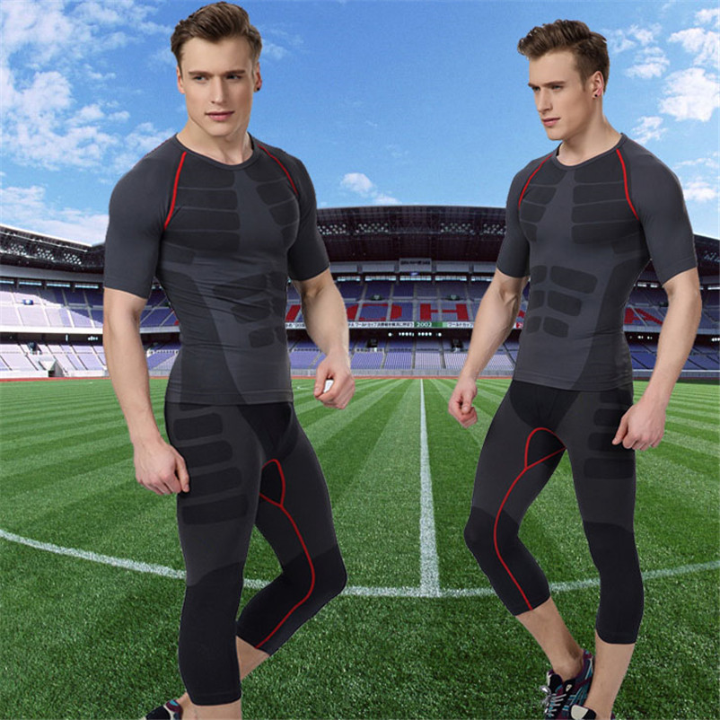 font b Men b font Bodybuilding Sets T Shirts Pants Long Sleeve Active Compression Tee
