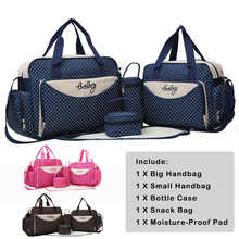 5Pcs/set Dot Printed Baby Diaper Bags Mom Mommy Mummy Shoulder Handbags Stroller Maternity Nappy Bags with Bottle Holder Case - DISCOUNT ITEM  5% OFF All Category