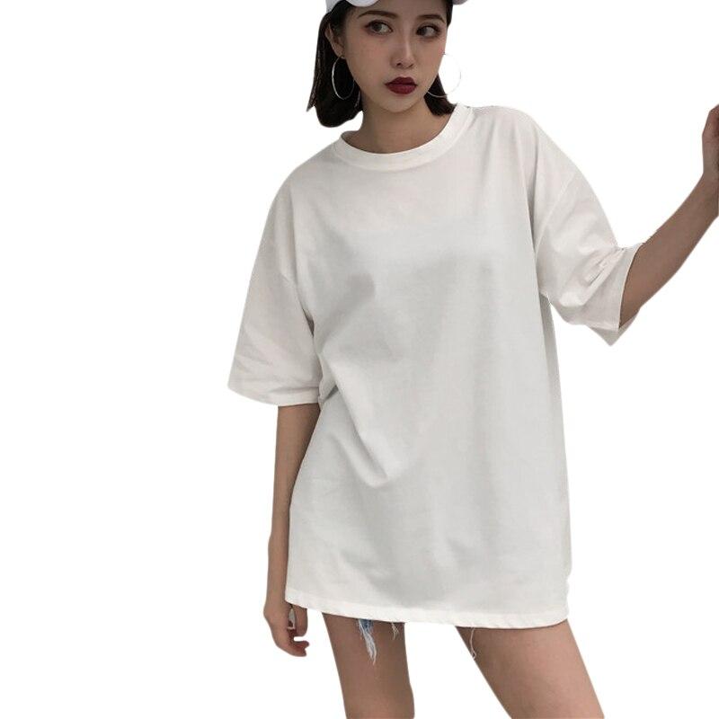 d6724451 US $11.22 25% OFF|Streetwear Women Long T shirts Summer 2019 Ladies Tees  Tops White Short Sleeve Oversized Tshirt O Neck Harajuku Woman T Shirt-in  ...