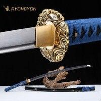 Ручной катана настоящий меч Sharp подлинной японский меч самурая Япония ниндзя дамасский меч изогнутая сталь пластинчатое лезвие A722